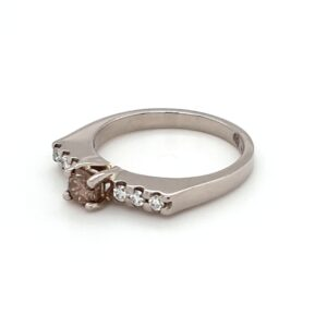 18K WHITE GOLD AND CHAMPAGNE DIAMOND ENGAGEMENT RING_1