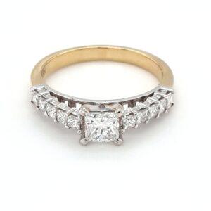 18K YELLOW AND WHITE GOLD PRINCESS CUT DIAMOND ENGAGEMENT RING_0