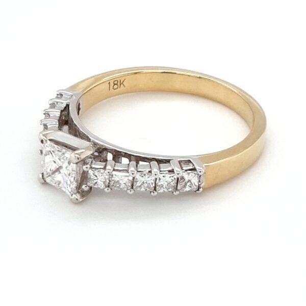 18K YELLOW AND WHITE GOLD PRINCESS CUT DIAMOND ENGAGEMENT RING_1