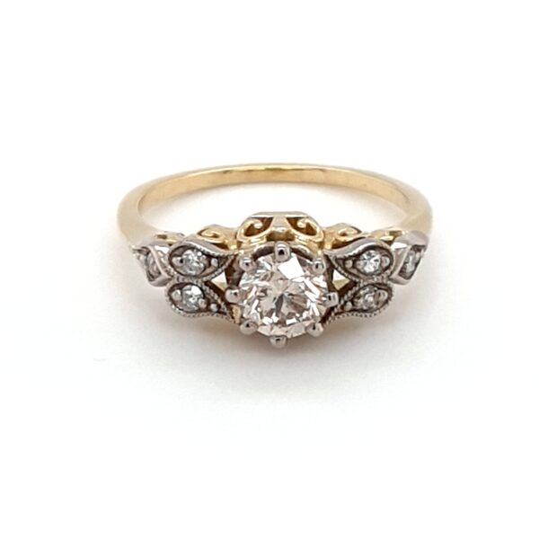 18K YELLOW GOLD ANTIQUE STYLE CHAMPAGNE DIAMOND RING_0