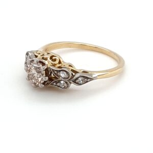 18K YELLOW GOLD ANTIQUE STYLE CHAMPAGNE DIAMOND RING_1