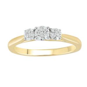 Royal Diamond 9k Yellow Gold Trinity Ring_0