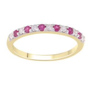 Royal Diamond 9K Yellow Gold Ruby and Diamond Ring_0