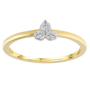 Royal Diamond 9K Yellow Gold Three Diamond Ring_0