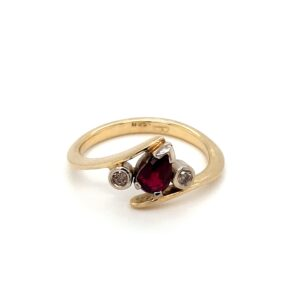 18K YELLOW AND WHITE GOLD RUBY AND DIAMOND RING_0
