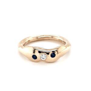 Leon Baker's 9K Yellow Gold Handmade Diamond and Sapphire Ring_0