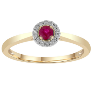 9K Yellow Gold Diamond and Ruby Ring_0