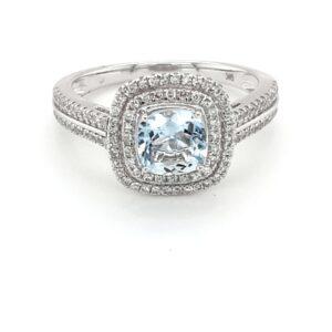 Leon Bakers 9K White Gold Aquamarine and Diamond Ring_0