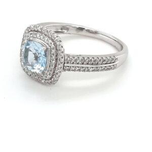 Leon Bakers 9K White Gold Aquamarine and Diamond Ring_1