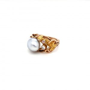 Leon Bakers 9K Yellow Gold Handmade Pearl and Gold Nugget Ring_1