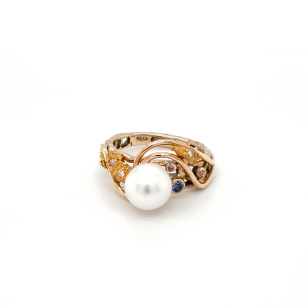 Leon Bakers 9K Yellow Gold Coral Bay Gold Nugget and Pearl Ring_0