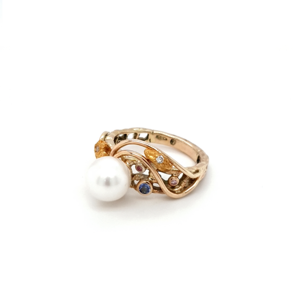 Leon Bakers 9K Yellow Gold Coral Bay Gold Nugget and Pearl Ring_1