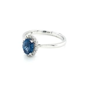 Royal Diamond 9K White Gold Blue Topaz and Diamond Ring_1