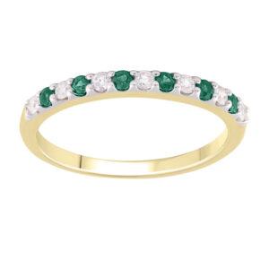 Royal Diamond 9K Yellow Gold Emerald and Diamond Ring_0