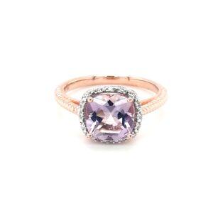 Royal Diamond 9K Rose Gold Amethyst and Diamond Ring_0