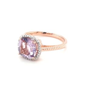 Royal Diamond 9K Rose Gold Amethyst and Diamond Ring_1