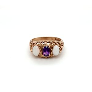 Leon Bakers 9K Yellow Gold Opal and Amethyst Dress Ring_0