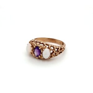 Leon Bakers 9K Yellow Gold Opal and Amethyst Dress Ring_1