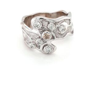 Leon Bakers 18K White Gold Argyle Champagne Diamond Ring_0