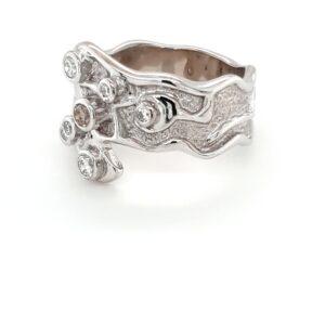 Leon Bakers 18K White Gold Argyle Champagne Diamond Ring_1