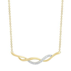 Royal Diamond Gold Wave Pendant 9kyg necklace included_0