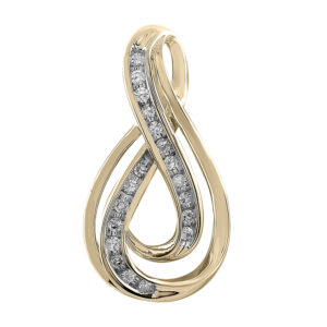 Royal Diamond 9K Yellow Gold Swirl Diamond Pendant_0