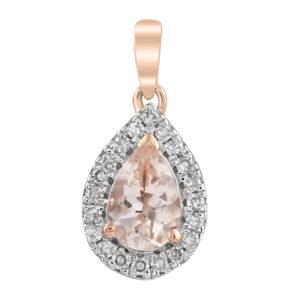 Royal Diamond 9K Rose Gold Morganite Pendant_0