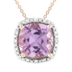 Royal Diamond 9K Rose Gold Amythest Pendant_0