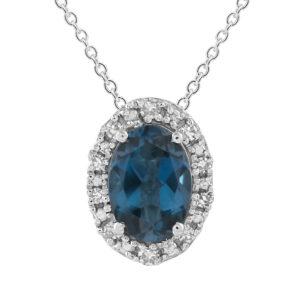 Royal Diamond Blue Topaz and Diamond Pendant_0