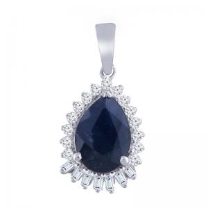 Royal Diamond 9K White Gold Sapphire Pendant_0