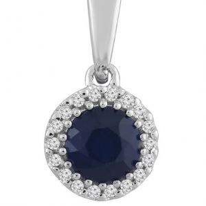 Royal Diamond Round Cut Blue Sapphire and Diamond Pendant_0