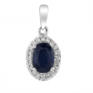Royal Diamond Oval Cut Sapphire and Diamond Pendant_0