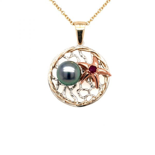 Leon Bakers Coral Bay Abrolhos Pearl and Starfish Pendant_0
