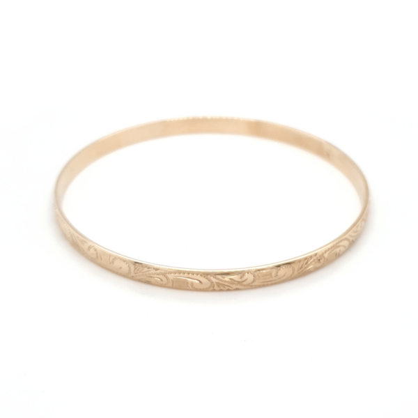 Leon Bakers 9K Yellow Gold Engraved Bangle_0
