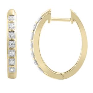 #0A 9K YELLOW GOLD 0.1CT DIAMOND HUGGIES SPEC $960_0