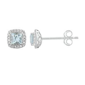 Royal Diamond 9k White Gold Aquamarine Earrings_0