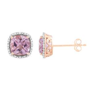 Royal Diamond 9k Rose Gold Diamond and Amethyst Studs_0