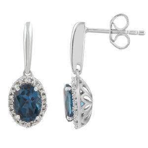 Royal Diamond 9k White Gold Blue Topaz Earring_0