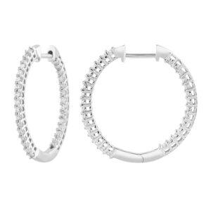 Royal Diamond 9k White Gold Diamond Hoops_0