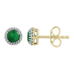 Royal Diamond Emerald and Diamond Stud Earrings_0