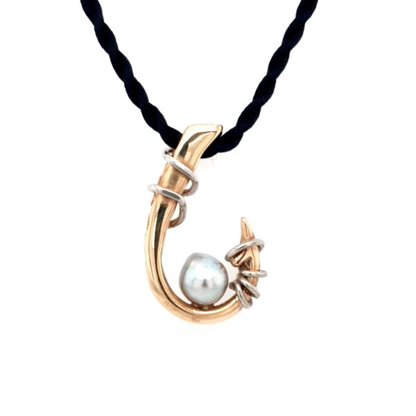 Leon Bakers 9K Yellow Gold Abrolhos Pearl Hook Pendant_0