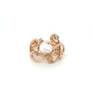 Leon Bakers 9K Yellow Gold Keshi Pearl and Diamond Ring_0