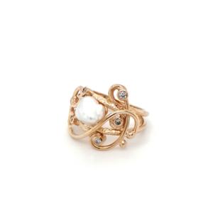 Leon Bakers 9K Yellow Gold Keshi Pearl and Diamond Ring_1