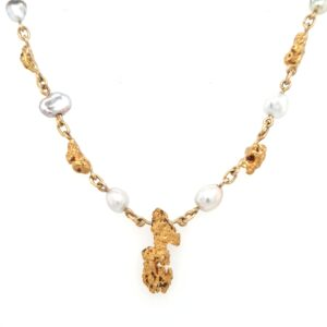Leon Bakers 18k Yellow Gold Keshi Pearl and Gold Nugget Chain_0