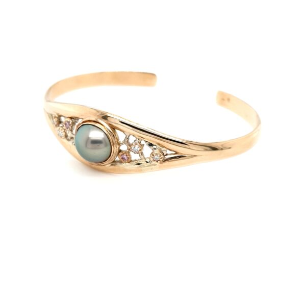 Leon Bakers 9K Yellow Gold Coral Bay Abrolhos Pearls and Diamond Cuff Bangle_1