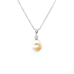 Leon Bakers 18K White Gold Keshi Broome Pearl and Diamond Pendant_0