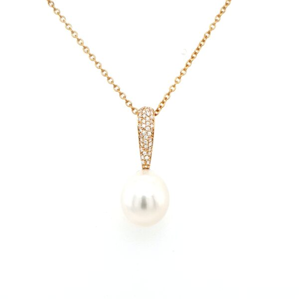 Leon Bakers 18K Yellow Gold South Sea Pearl and Diamond Pendant_0