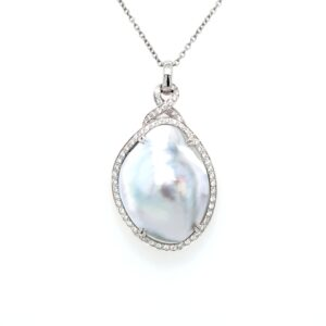 Leon Bakers 18K White Gold Mabe Pearl and Diamond Pendant_0