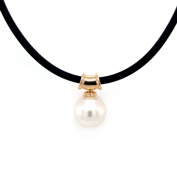 Leon Bakers 9K Yellow Gold Broome Pearl and Neoprene Pendant_0