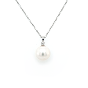 Leon Bakers 18K White Gold Broome Pearl and Diamond Pendant_0